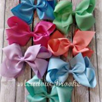 LARGE HAIRBOW, bow, ready to ship, baby, toddler, boutique, southern, over top, big, jumbo, sew sassy, chic, mint, coral, blue, lavender,