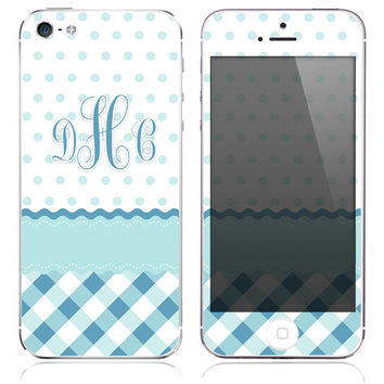 Monogrammed Blue Plaid w/ Polka Dots Print Skin for the iPhone 3gs, 4/4s, 5, 5s or 5c