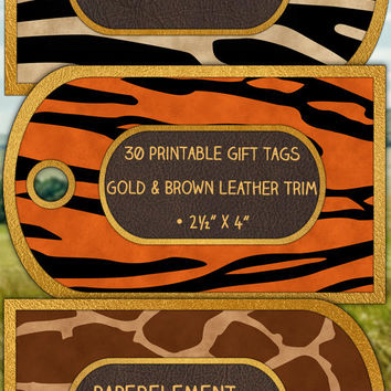 Digital Animal Print Gift Tags: Printable Gift Tags with Animal Patterns - Animal Gift Tags with Leopard, Tiger Print, Zebra Print Download