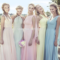 Bridesmaid Dress 2016 Custom Made Infinity Dress Convertible Chiffon Wedding Party Gowns Maid of Honor Dress Sleeveless Custom