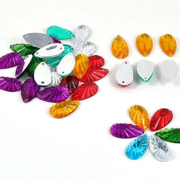 Faceted Tear Drop Acrylic Sew on Beads in Blue, Green, Gold, Silver, Purple & Red Jewellery and Craft Supplies 2.2 cm x 1.1cm - lots of 20