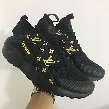 DCCKGV7 Best Online Sale LV x Supreme x Nike Air Huarache 4 Black Men Women Mesh Hurache Sport Running Shoes  Casual Shoes Sneakers 819685-106