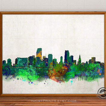 Miami Skyline Watercolor, Florida Print, Cityscape, USA City Painting, States Poster, Illustration Art Paint, Giclee Wall, Home Decor