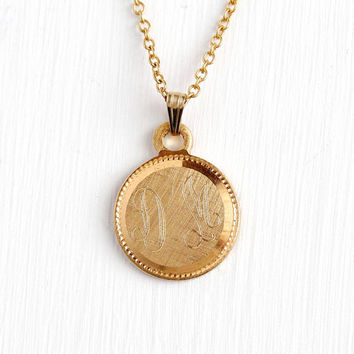 Initial DM Necklace - Vintage Yellow Gold Filled Retro Monogrammed DM Charm - 1970s Signed Creed Dated 1978 Personalized Pendant Fob Jewelry