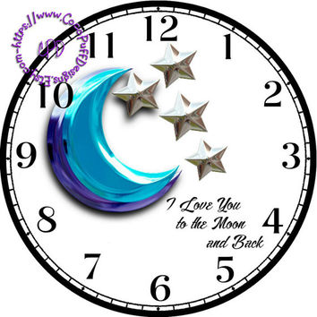"""Blue Shimmering Moon with Silver Stars Art - -DIY Digital Collage - 12.5"""" DIA for 12"""" Clock Face Art - Crafts Projects"""