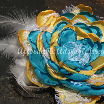 Teal & Yellow Fabric Flower Hair Clip or by AffordableAdorableKC