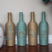 Wine Bottle Vase, Home decor, Twine wrapped, Teal Decor, Rustic Decorations, Rustic Wedding, Centerpieces, Home accents, Rustic Vase, GIft