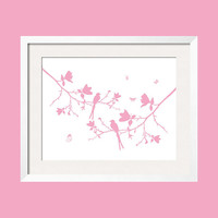 Two birds on magnolia branches, chirping  - In Pink  - With ADD A NAME option 8x10wall art