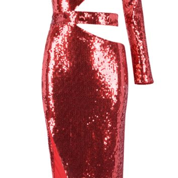'Gabrienne' Sequin Cutout Dress - Red