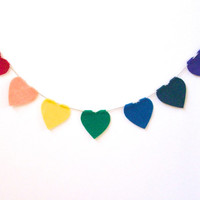Rainbow heart felt banner, rainbow all hanging, wedding banner with soft hearts