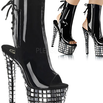 Mirror Tile Platform Ankle Boot By Pleaser-Stripper Boots
