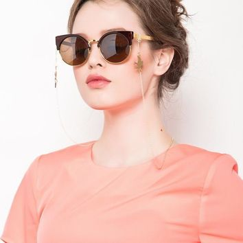 F.J4Z 1017 Fashion Stylish Gold Plated Alloy Swallow Sunglasses Chain for Women Trendy Personality Glasses Lanyard Holder Straps
