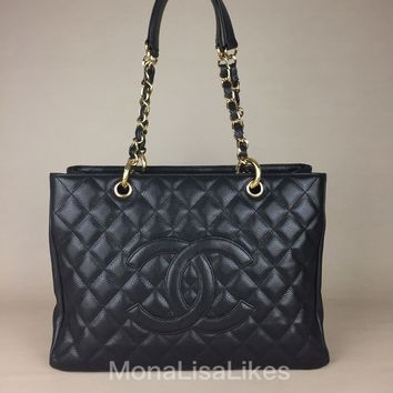 Authentic CHANEL Black Caviar Leather Quilted CC Logo Chain Shopping Tote Bag