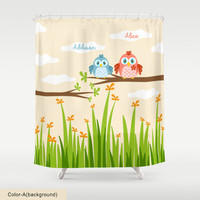 Custom Shower Curtain,Choose Fonts Style,Monogram,Little Birds,Owls Art,Custom Names,Baby,Kids Bathroom Art Decor,Polyester,Printed in USA