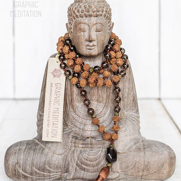Rudraksha Smoky Quartz Mala Beads, 108 mala beads, Meditation beads, Smokey quartz necklace, Brown tassel rosary beads, Hand knotted mala