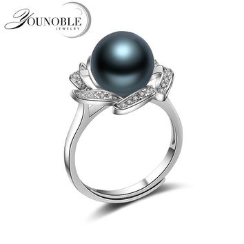 Black Pearl Rings Real Round Tahitian Natural Pearl Ring 925 Silver Jewelry