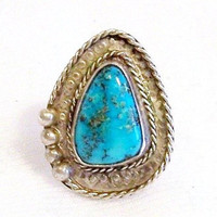 Western Turquoise Ring: Vintage Sterling Silver Ring, Size 7 3/4 - L2009