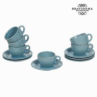 Set of 6 blue cup and saucers - Kitchen's Deco Collection by Bravissima Kitchen