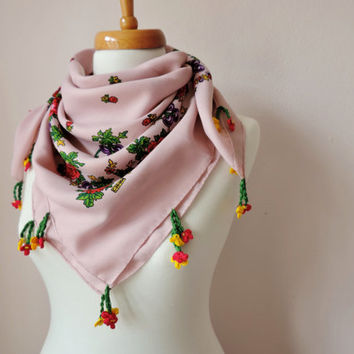 Bohemian Scarf With Crochet Lace, Pink Floral Scarf