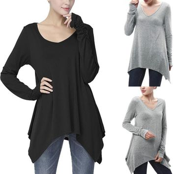 USA Women Ladies Loose Casual Long Sleeve T-Shirt Cotton Blouse Tops T-Shirt