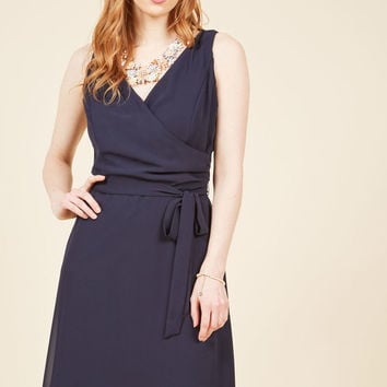 Camera Flash Finesse Wrap Dress in Midnight