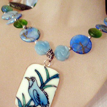Bluebird of Happiness Necklace - Antique Potttery Jade Mother of Pearl Art Glass - 21 Inch Handmade