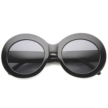 Retro 1950's Women's Oval Bold Round Sunglasses 9992