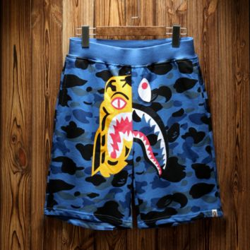 Bape shark tiger head shark camouflage shorts, pure cotton beach pants BLUE