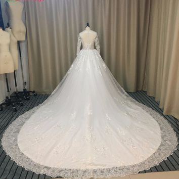 Dream Angel Royal Train Princess Ball Gown Wedding Dresses 2017 Sexy Illusion Long Sleeve Appliques China Bridal Gown Plus Size