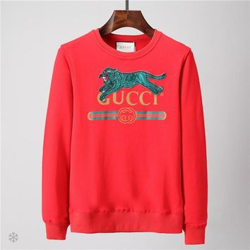 GUCCI 201 autumn and winter new embroidery leopard letters Logo printing men's casual sets of round neck sweater Red
