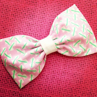 Light Pink mint green white preppy retro fabric hair bow