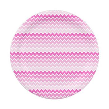 Hot Pink Ombre Chevron Zigzag Pattern 7 Inch Paper Plate