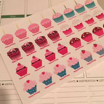FREE SHIPPING E8 Happy Birthday cupcake stickers for Erin Condren Life Planner/Plum Paper Planner - set of 32