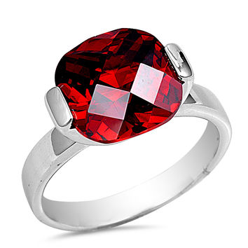 Sterling Silver CZ Simulated Garnet Solitaire Ring 12MM