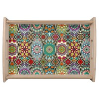 Colorful oval various mandalas floral pattern serving tray