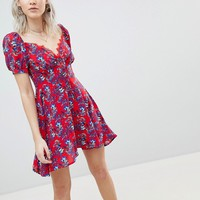 Boohoo Floral Prairie Bustier Dress at asos.com
