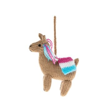 Colorful Llama Knitted Ornament