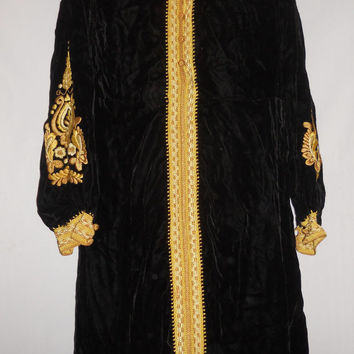 Vintage 80s Handmade Imperial Black Velvet Gold Embroidered Floral Design HIgh Fashion Dress MuMu RIch WIno Burning Man