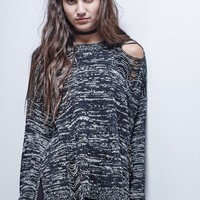Gypsy Warrior Destructed Pullover Sweater - Womens Sweater - Black