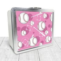 Pink Baseball Lunch Box - Sports Baseball Pattern on Pink, Tin School Lunch Art Craft Supplies Box, Chalkboard inside - Made to Order