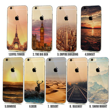 Soft Natural landscape Rubbery Phone Case for iphone 6 6s 5 5s SE Silicone Cover Effiel Tower Paris London City Capinhas para