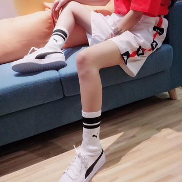 """Kappa"" Unisex Vintage Personality Casual Multicolor Stripe Logo Webbing Shorts Couple Sweatpants Leisure Pants"