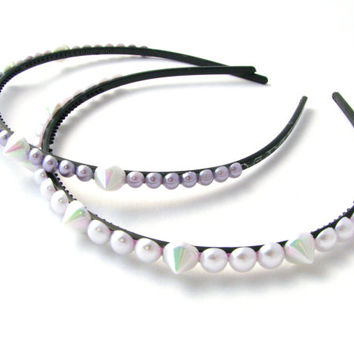 Pastel Spiked Pearl Headband - Cute Summer Hair Accessory - Pastel Rainbow Spikes & Lavender or White Pearls