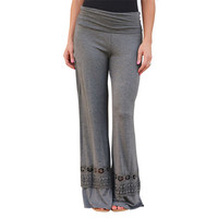 Lace Patchwork Casual Cotton Palazzo Pants - Gray