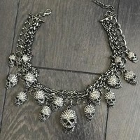 Skulls Cluster Black Goth Fashion Crystal Necklace