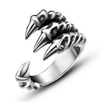 Gothic Silver Dragon Claw Ring