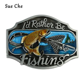 I'd Rathen Be Fishing Belt Buckles