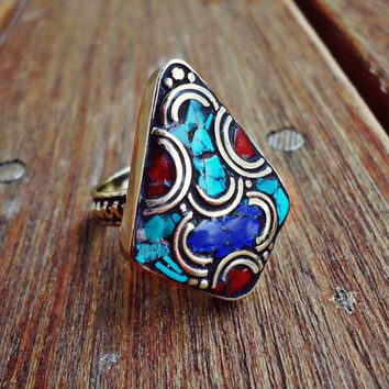 FREE Shipping Tibetan Ring. Tibetan Sterling Turquoise Coral rings.Native American.Turquoise Coral rings.Tibetan Jewelry.Retro Fun jewelry.
