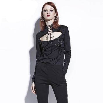 Gothic Blouse Black Lace-Up Hollow Out Women Fall Slim