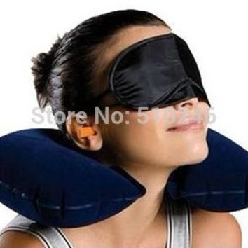 hot sale blue grey 3pcs Travel Set Inflatable Neck Air Cushion Pillow/eye mask/ 2 Ear Plug amenity kit